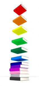 Flying colourful book stack