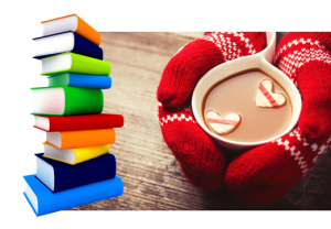 mitts holding mug with books on table
