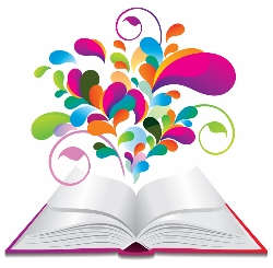 open book with lots of colours resonating from open pages