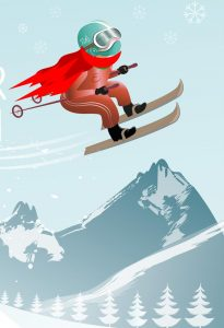 cartoon of child skier with red scarf