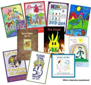 Colourful book covers of books written by kids for kids