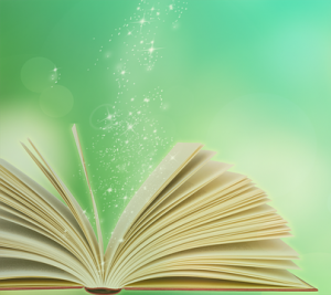 open book with sparkles flowing out