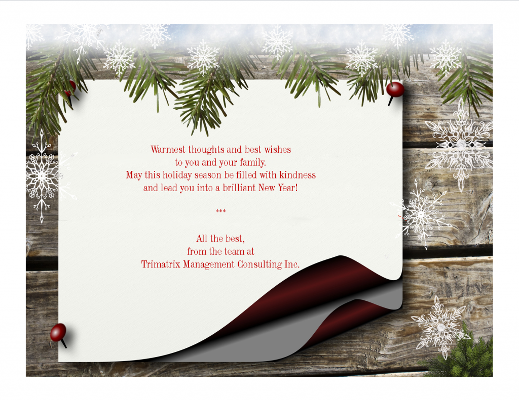 Banner with Happy holidays message from Trimatrix Management Consulting Inc.