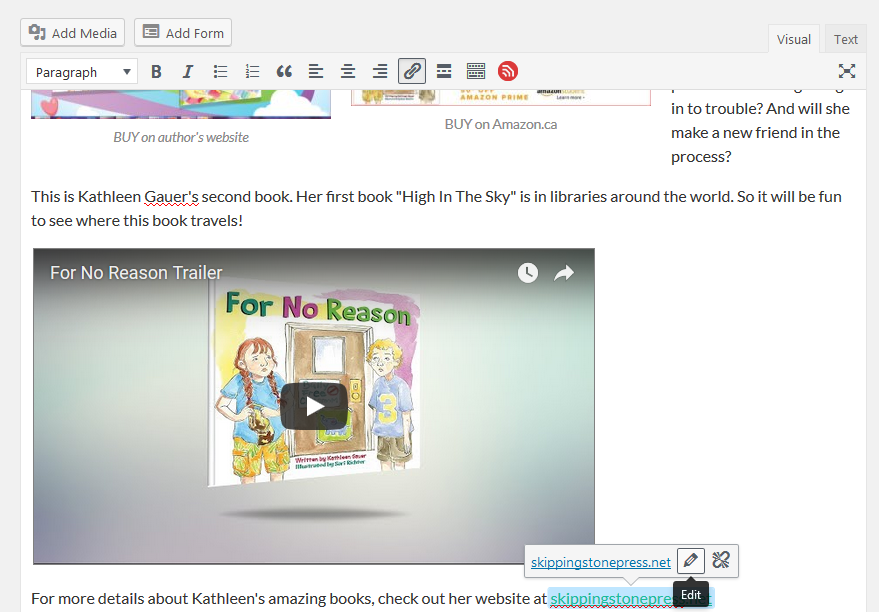 image showing screenshot of first step in setting 'link to new tab'