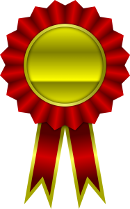 image of prize ribbon that is red and gold