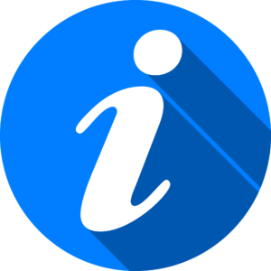 blue circle containing 'i' for information