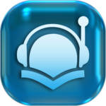 icon showing shape of head, headphones and open book