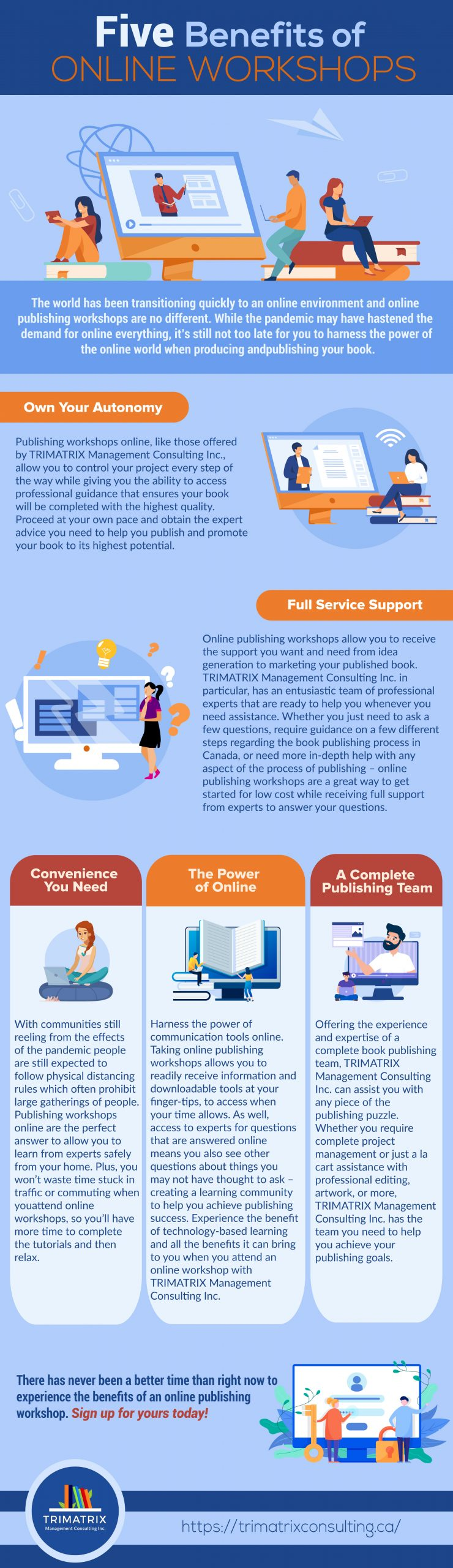 Infographic showing 5 benefits of online workshops